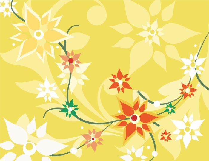 цветы на желто зеленом фоне