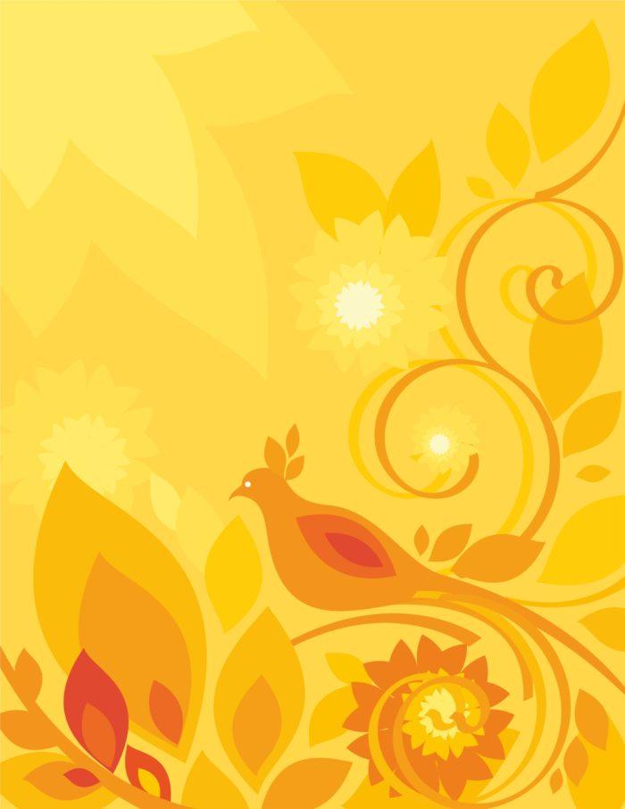 темно желтый цветочный фон с птицей