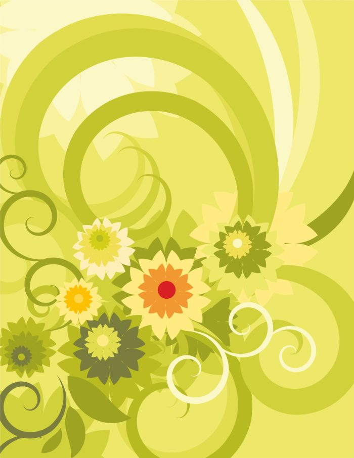 зеленый фон цветы