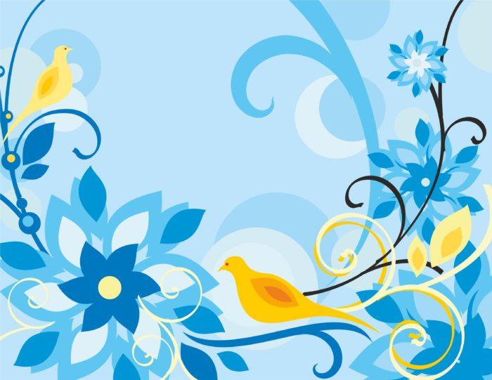 синий фон цветок
